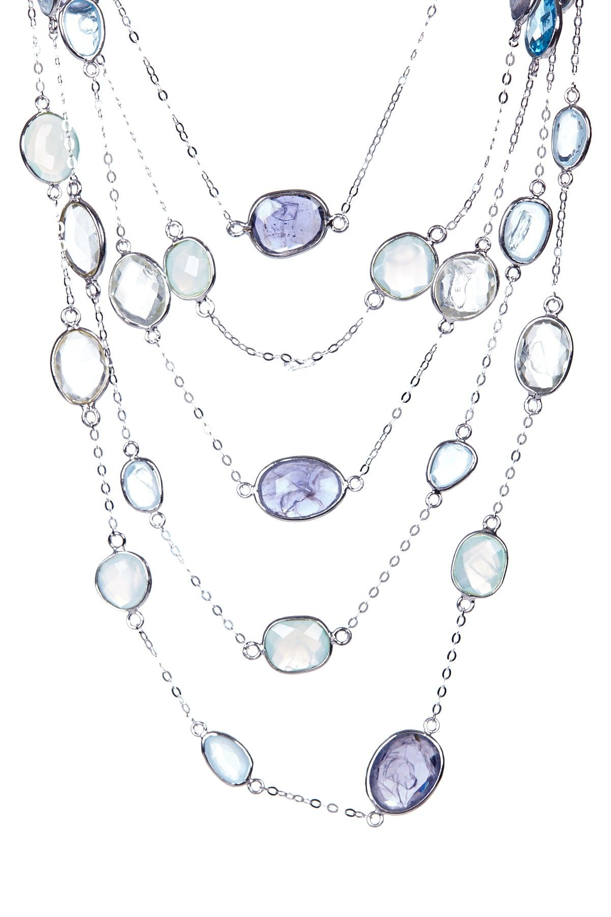 Sterling Silver Multi Strand Assorted Stone Station Necklace