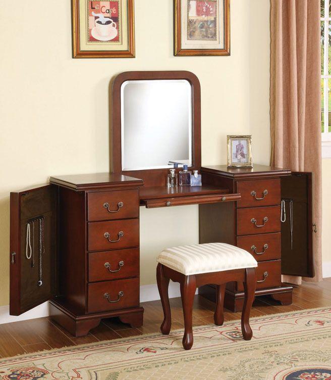 3Pc Brown Cherry Finish Louis Phillipe Vanity Set With Jewelry Storage # AcmeFurniture