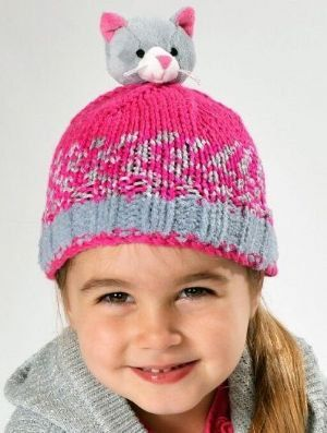 a92dd4c64 DMC Top This KITTEN Hat Knitting Kit with a Yarn and Character Pom ...
