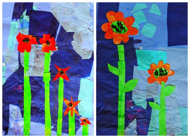 1st Grade The Tiny Seed Collages Paper Flower Art Tissue Paper