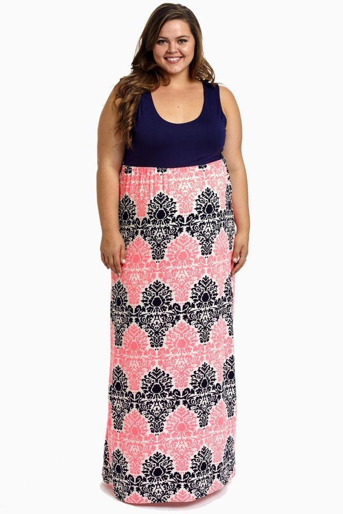 d736b1565172e Navy Blue Pink Damask Bottom Plus Size Maternity Maxi Dress ...