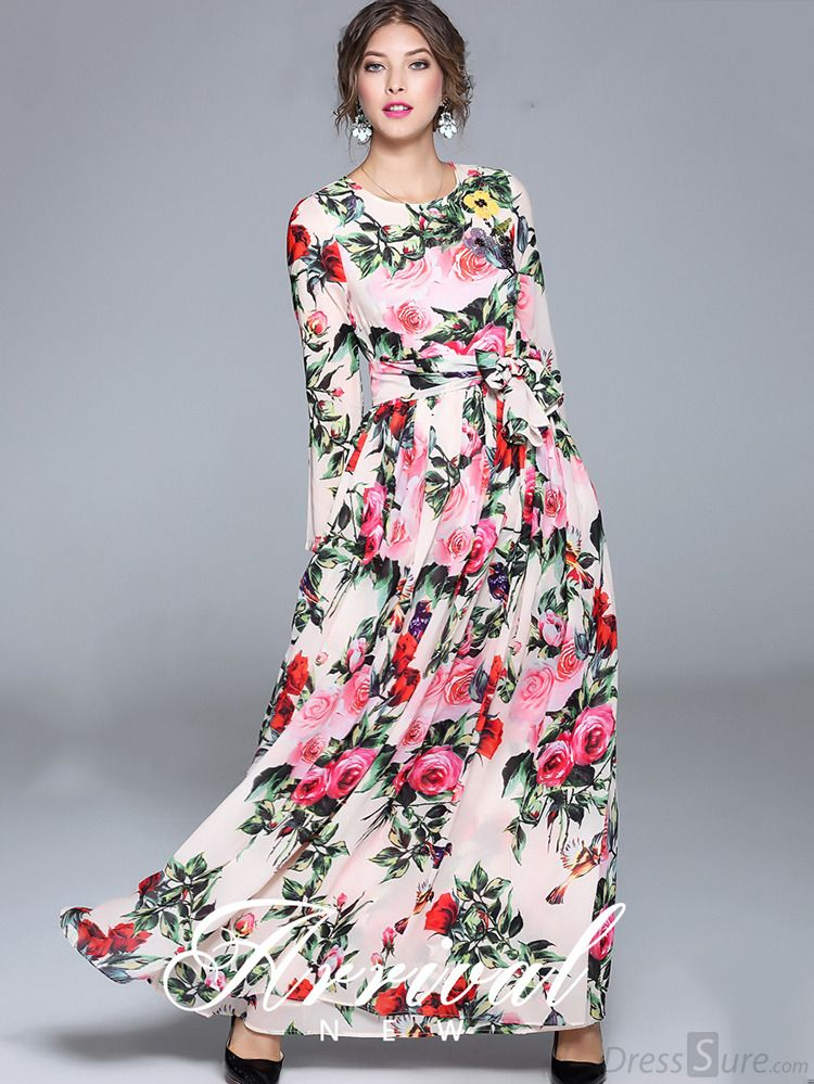 3f50439dcfbe Buy Elegant O-Neck Long Sleeve Floral Print Maxi Dress at DressSure.com  Color:Multi; Size:S, M, L, XL; Material:Polyester, Silk; Style:Casual; ...