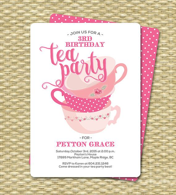 Tea For Two Is Your Little One Having A Birthday Why Not Make It Party Text And Wording Customizable Any Event I E