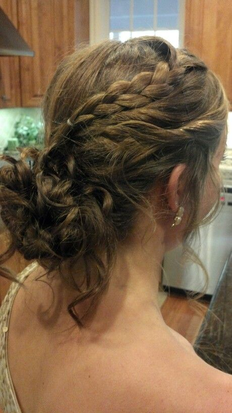prom hair curly braid updo brunette