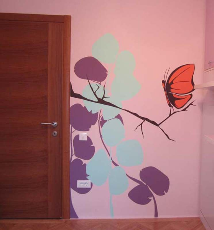 """Girl bedroom wall mural painted, """"Pink butterfly"""" Perete pictat camera fete, """"Pink butterfly"""""""