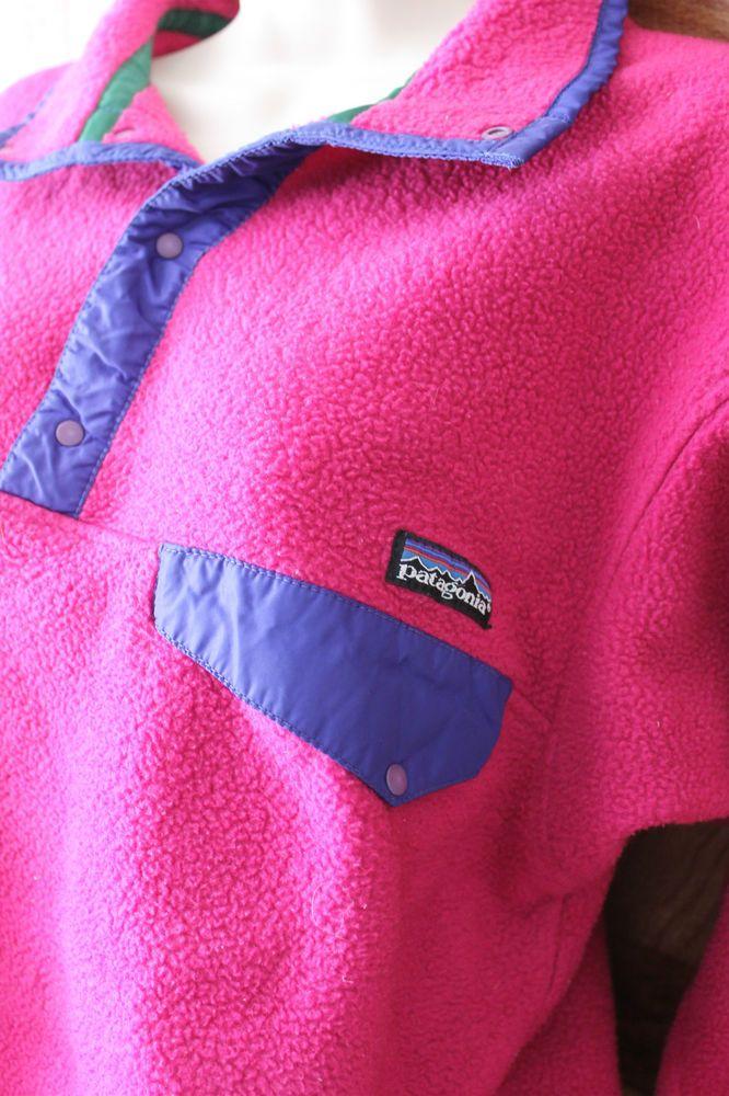 Vintage Patagonia Snap T Womens Pullover Fleece Jacket Pink Size M   Patagonia  FleeceJacket ee1be1b95f349