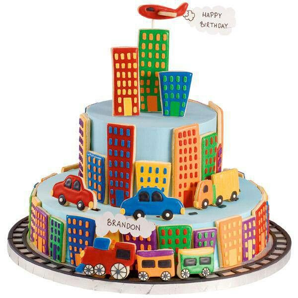Birthday cake for a boy Buildings cars are sugar cookies Too