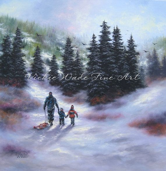 Sledding With Dad Original Oil Painting 20X20 Dad and two boys, two children winter sledding painting, Vickie Wade Art on Etsy, 101,93 €