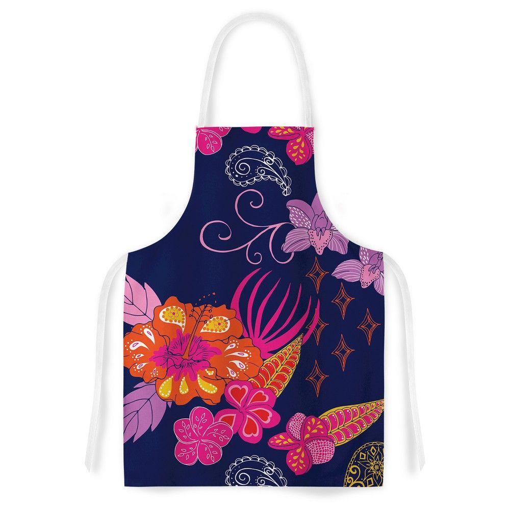 "Cooking Apron Anneline Sophia ""Tropical Paradise"" Pink/Purple (31"" X 36"") - Kess Inhouse, Blue"