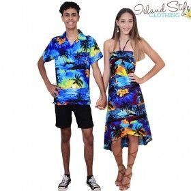 Blue Sunset Couples Set - Ladies Butterfly Dress & Mens Hawaiian Shirt Fancy Dress Costume