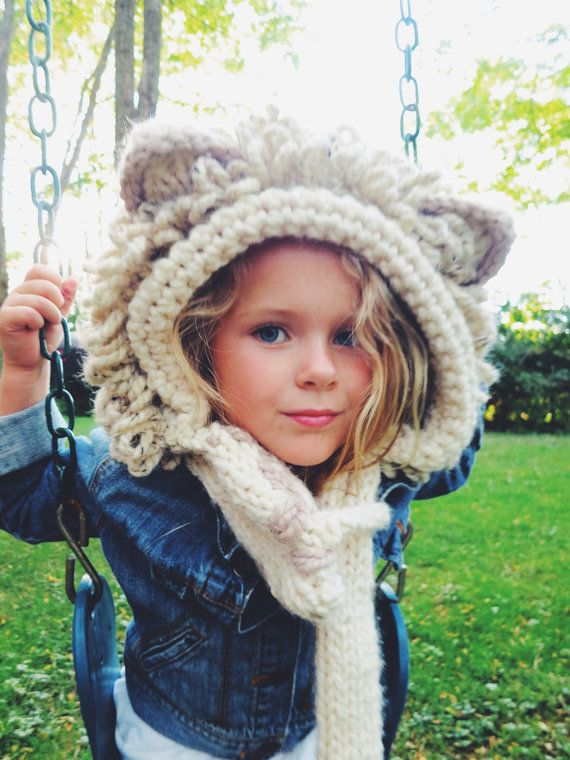 PATTERN for Lion Hat Hood Cowl Scarf Knit Toddler Child Adult ...