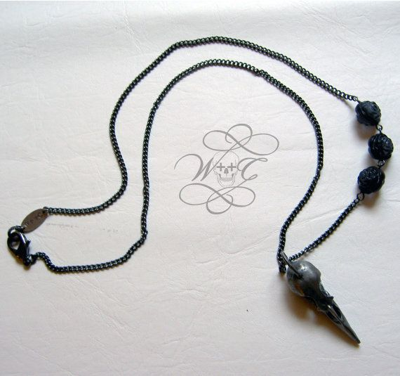 Gunmetal Black Bird Skull Necklace With Three by whoretothecore