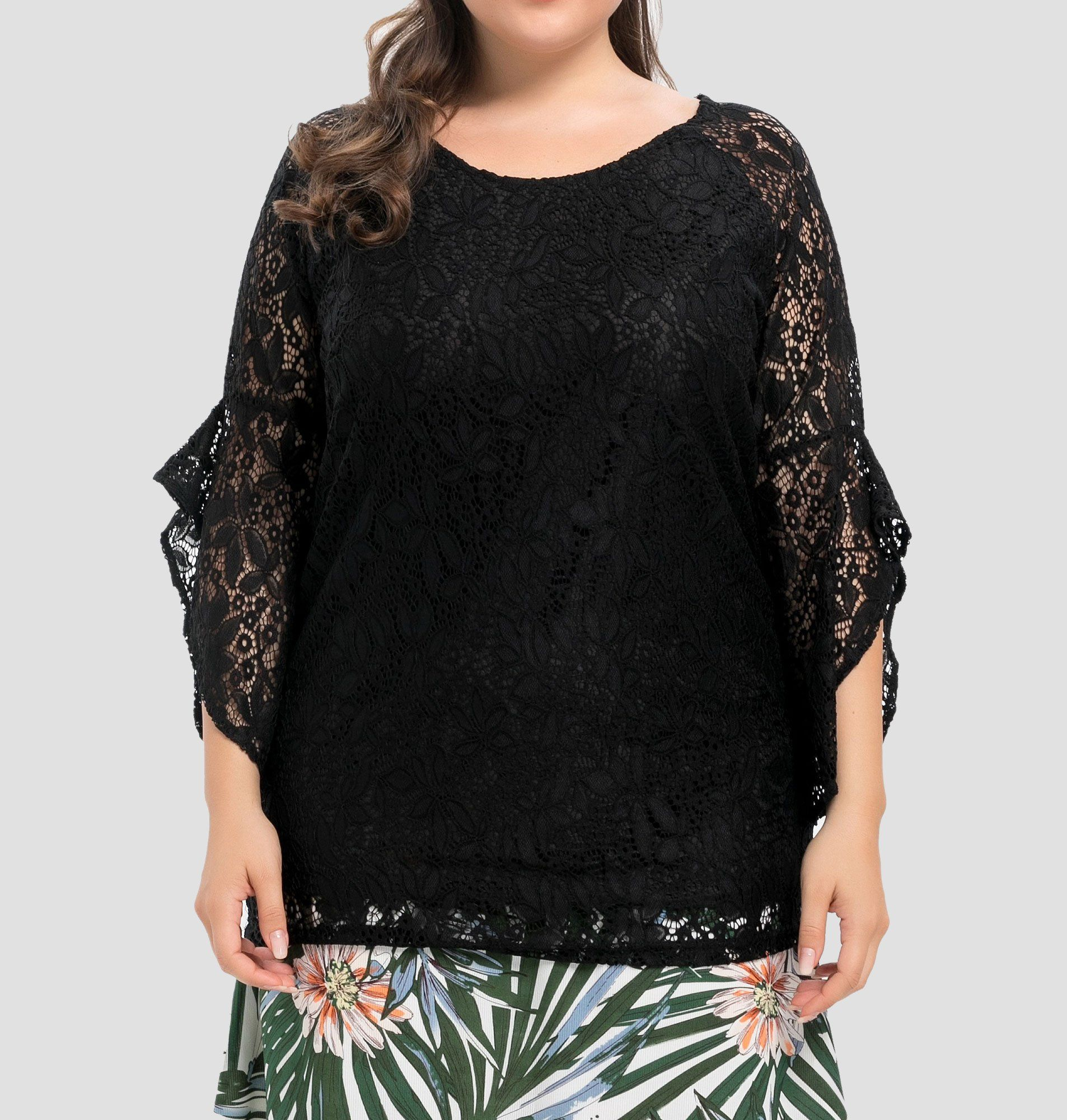 f3d86f74480 Women's Plus Size Lined Floral Lace Top Lace Tunic, Casual Party, Plus Size  Tops