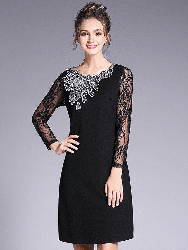 Pretty Hollow Lace Plus Size Long Sleeve Mini Dress