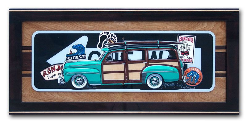 One Way Sign Painted with a Ford Woody. Painted by SIN Customs Artist Ryan Curtis - http://www.SIN-Customs.com