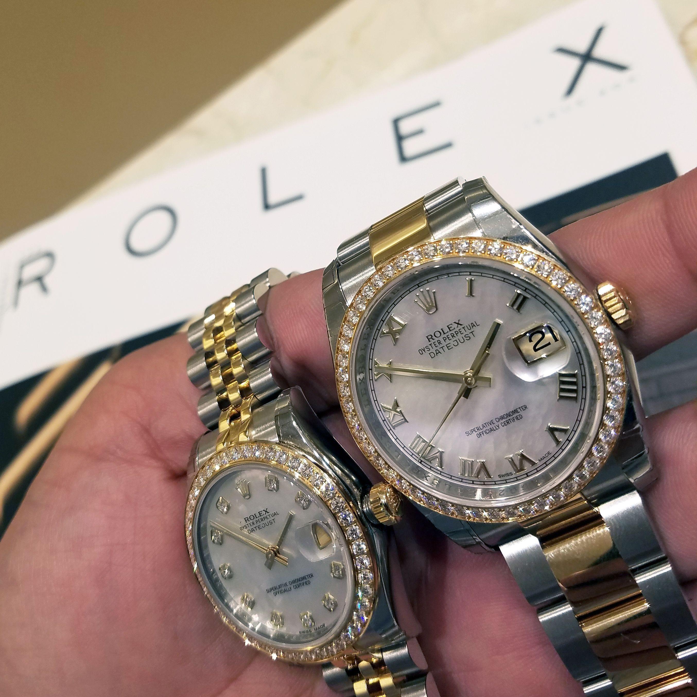 His and HersRolex DatejustDiamond bezel watches. Shiny
