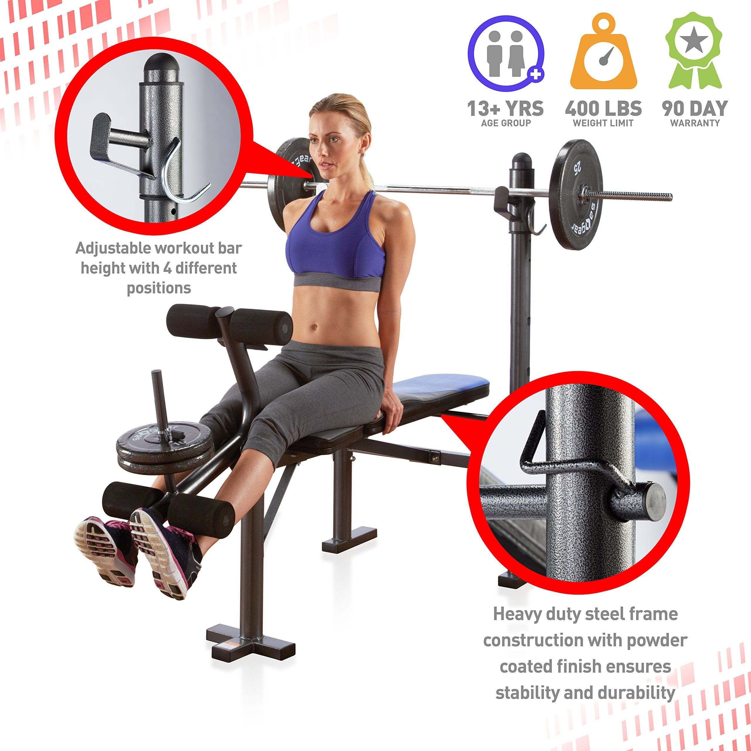Pure Fitness Weight Training Workout Adjustable Multipurpose Utility Bench Blue Black You Could Discov Bar Workout Weight Benches Weight Training Workouts