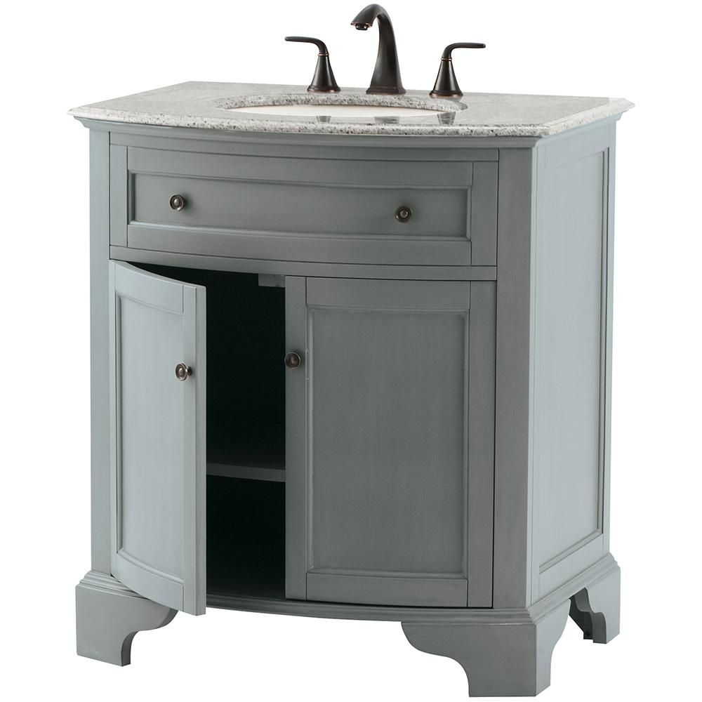 'Home Decorators Collection' Hamilton 31 In. Vanity In Grey With Granite  Vanity Top In Grey With White Basin