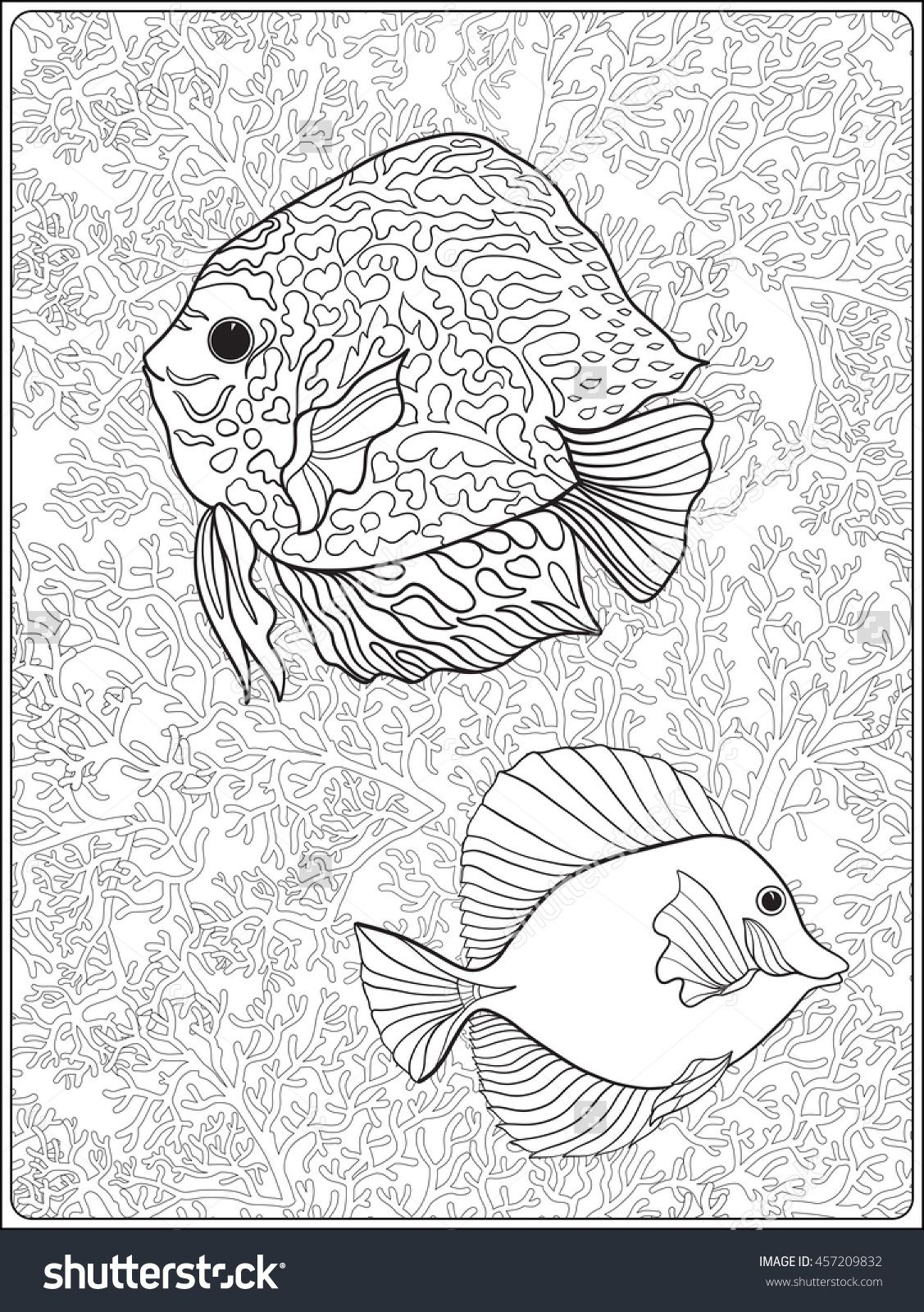 Pattern With Decorative Corals And Sea Or Aquarium Fish Vector