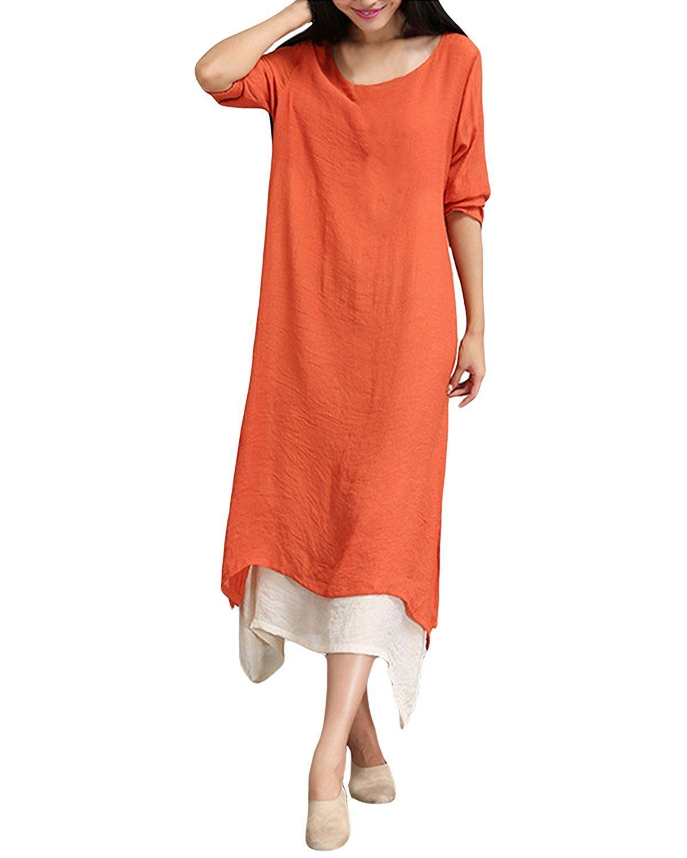 Womenus boho casual dress maxi dress vintage loose long sleeve