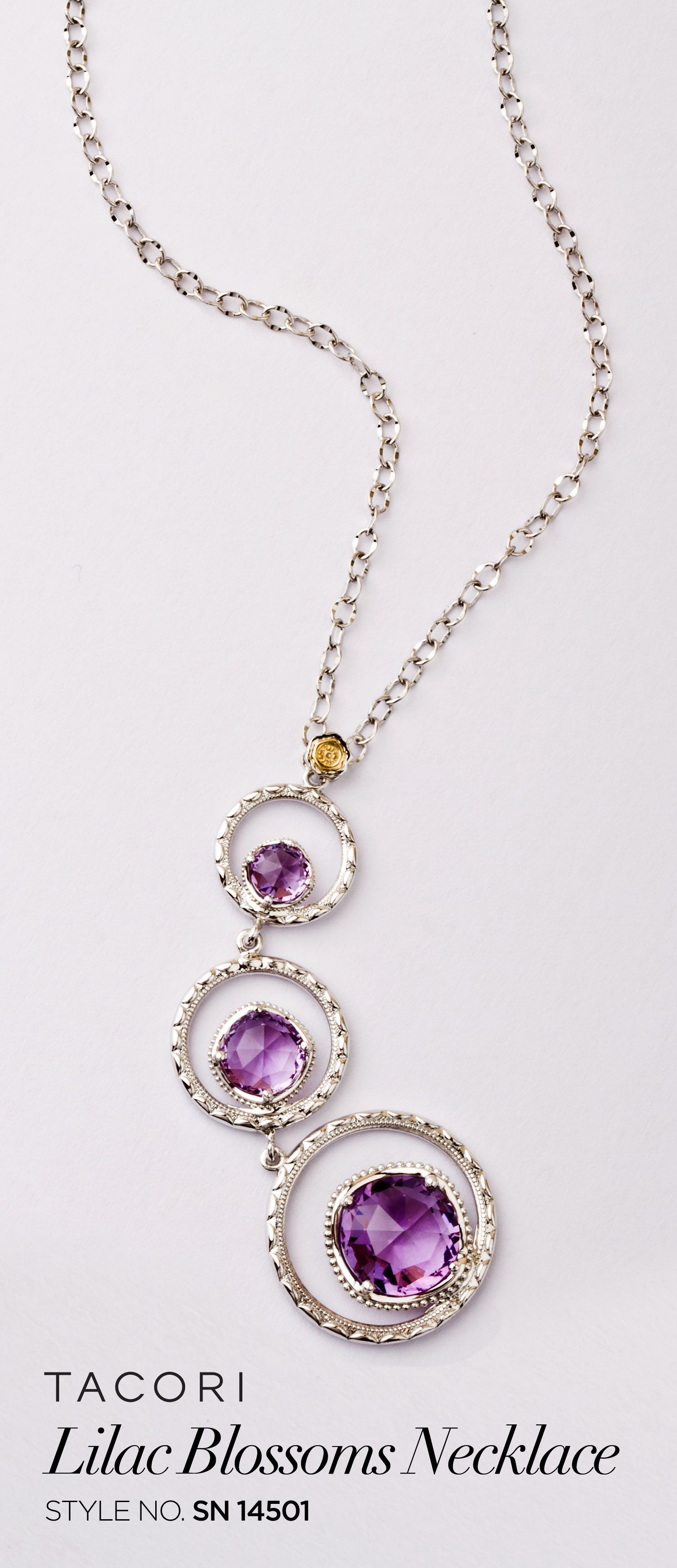 Three floating Amethyst gems sparkle and glisten in crescent engraved silver halos, detailed with unique designs for truly incredible precision. Breathtaking from any angle, the contrast of the regal purple and glittering silver creates a unique beauty for any outfit.
