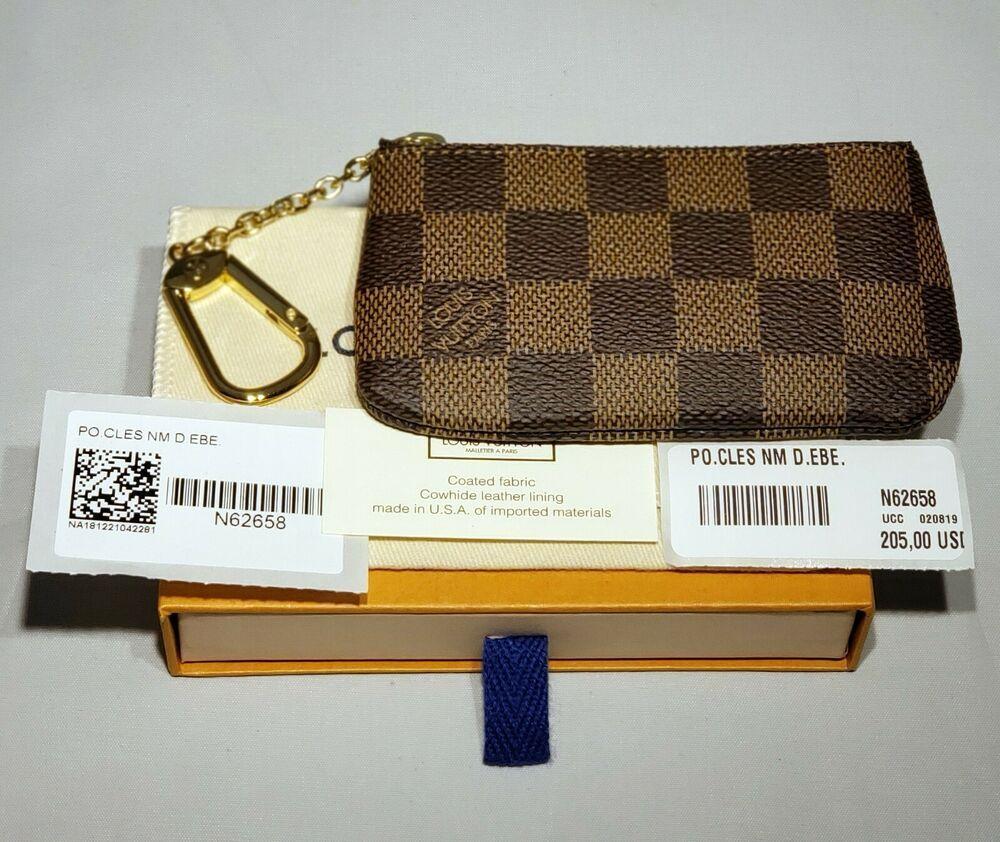 be71cbcabc5b New Authentic Louis Vuitton Damier Ebene Key Pouch Cles N62658 Gift Box  Dust Bag