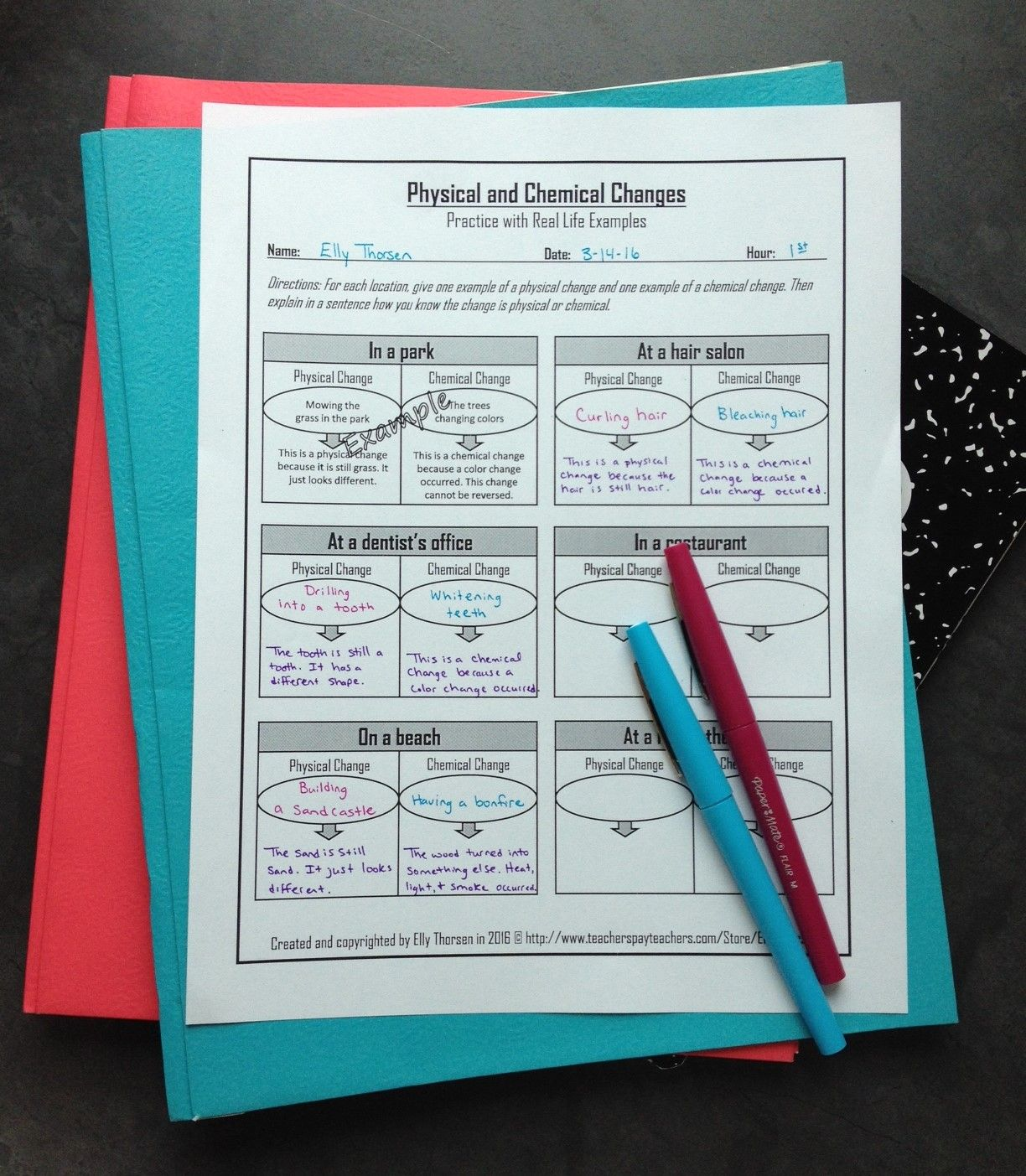 Physical And Chemical Changes Worksheet With Real Life Examples For Middle School Science