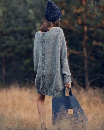 Oversized Grey Sweater Woolen Sheep Wool By RobotyReczne