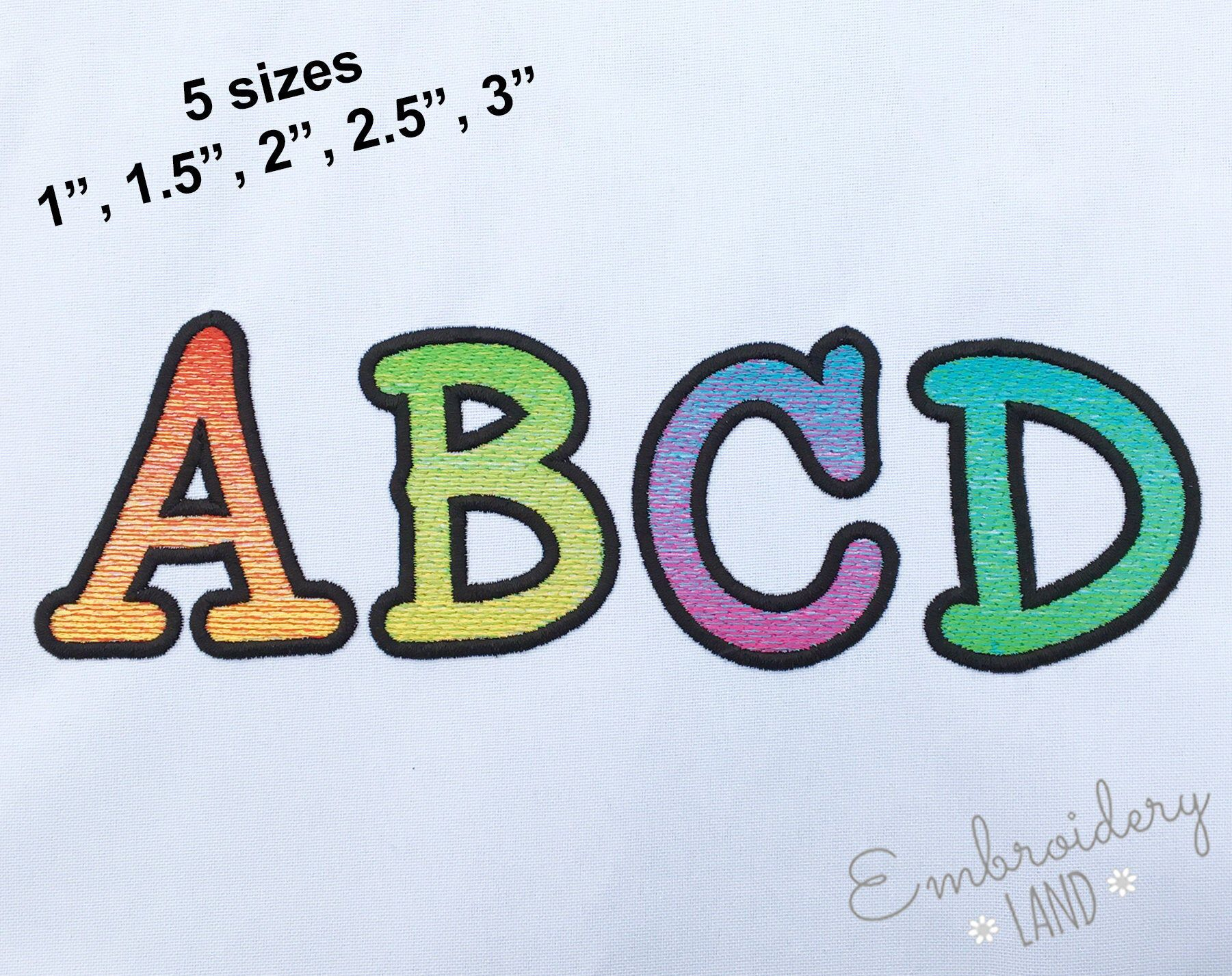 BX included! Rainbow Smarty Filled Embroidery Font in 3