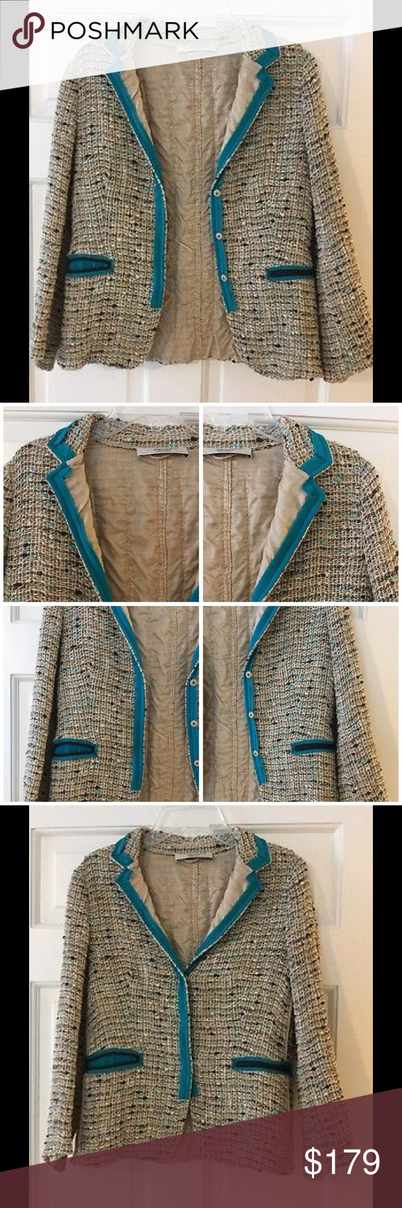 """✳️SALE✳️ Prada Boucle tweed jacket IT 44 US 8 10 There is nothing basic about this gorgeous Prada jacket! Brown and turquoise details set off the beige Boucle. Three snap close. Cotton/wool/linen with silk lining. Italian size 44 converts to a US 8 or 10. Underarm across 17"""". Length 22"""". Excellent condition (EUC). Prada Jackets & Coats Blazers"""