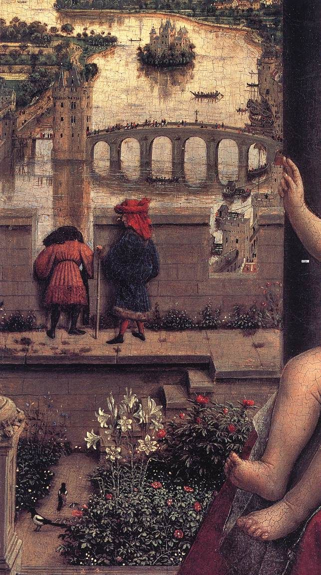 The Virgin of the Chancellor Rolin (detail) - Jan van Eyck