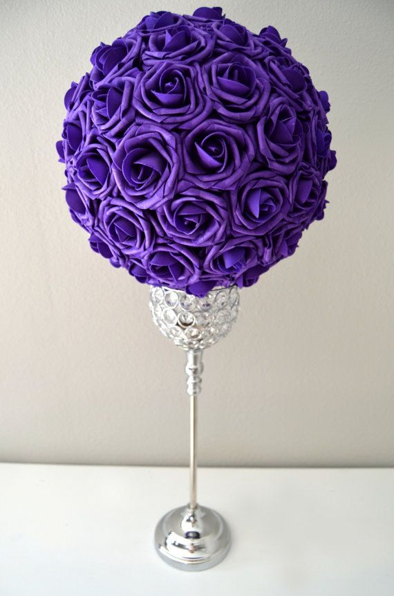 Purple kissing ball wedding centerpiece pomander by