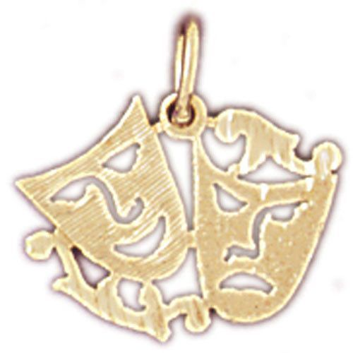 14k Yellow Gold CRY LATER TRAGEDY DRAMA MASK Pendant Charm Made in USA