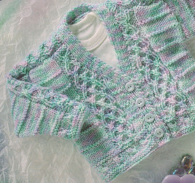 Baby Cardigan with Celtic Entwined Cable ~ DK -16\