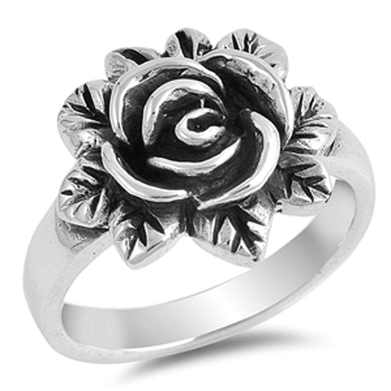 Oxidized Rose Flower Leaf Vintage Ring New .925 Sterling