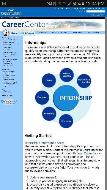 Internship at csusb is available college visionboard Pinterest - resume for internship
