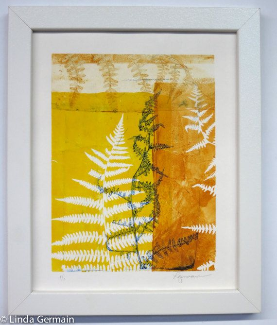Original Gelatin Monotype Print Yellow and gold by StudioGermain ...