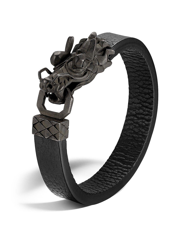 John Hardy Woven Leather & Dragon-Head Bracelet 5SPMG