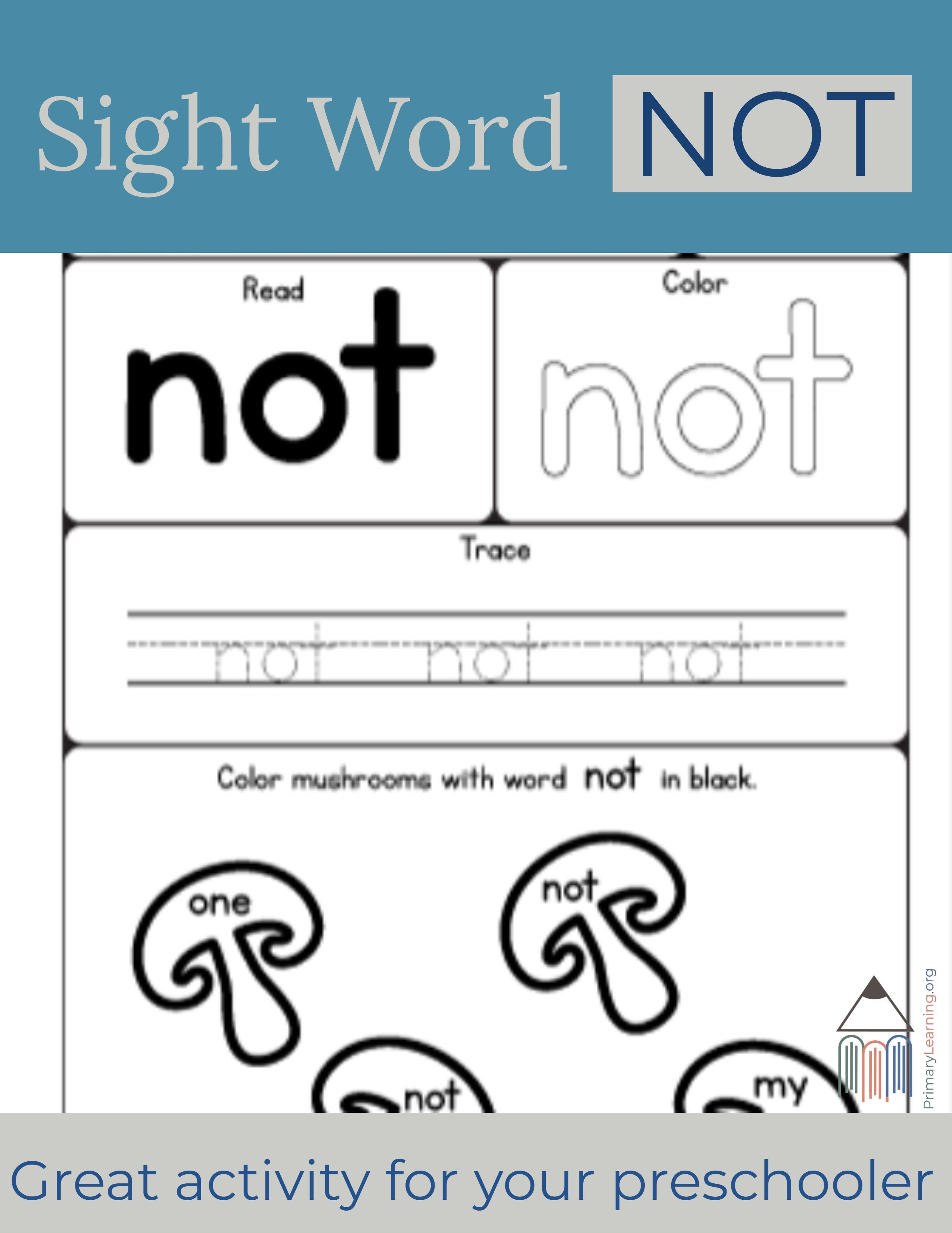 Sight Word Not Worksheet