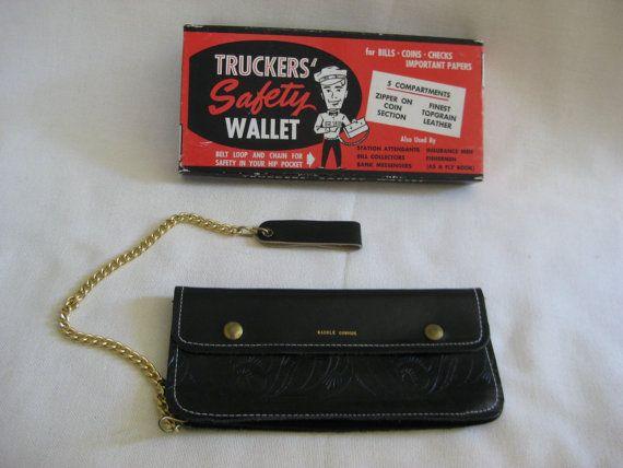 Vintage Trucker S Wallet In Original Box Etsy Trucker Wallet Wallet Leather Wallet