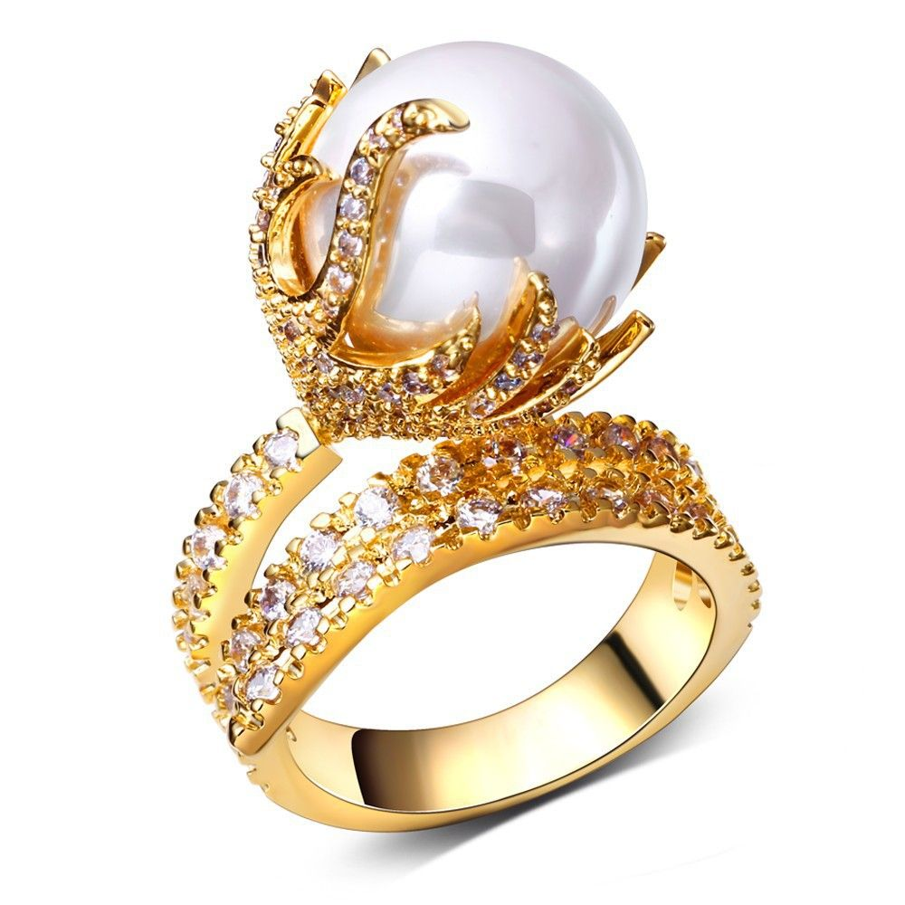 Pearl Rings cubic zirconia ball finger Ring high quality party ...
