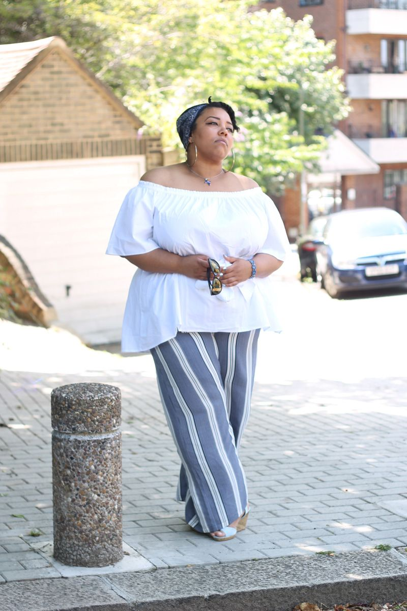 Plus Size Fashion, Girly Fashion, Plus Size Style, Plus Size Looks, Clothing from Navabi. Manon Baptiste, Wide Legged Trousers, Striped Trousers. All Looks are reviewed on my blog at www.mayahcamara.com