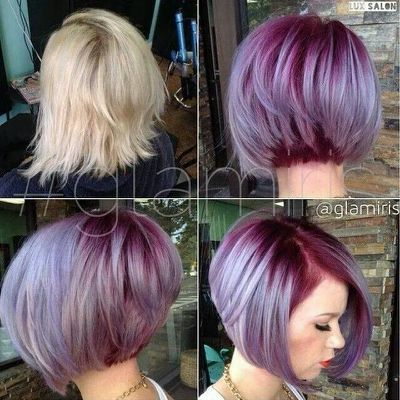 Amazing A Line Stack Bob With Purple Hair Styles Short Hair Styles Bob Hair Color