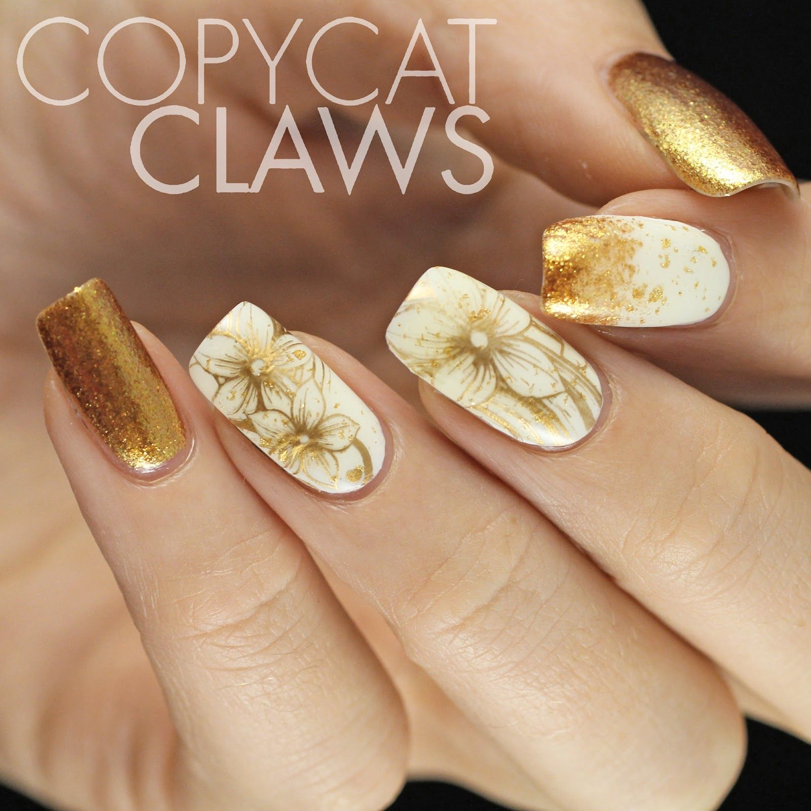 Sunday Stamping - White and Gold Nails