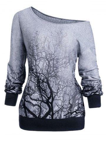 3D Tree Print Skew Neck Gothic Halloween Sweatshirt