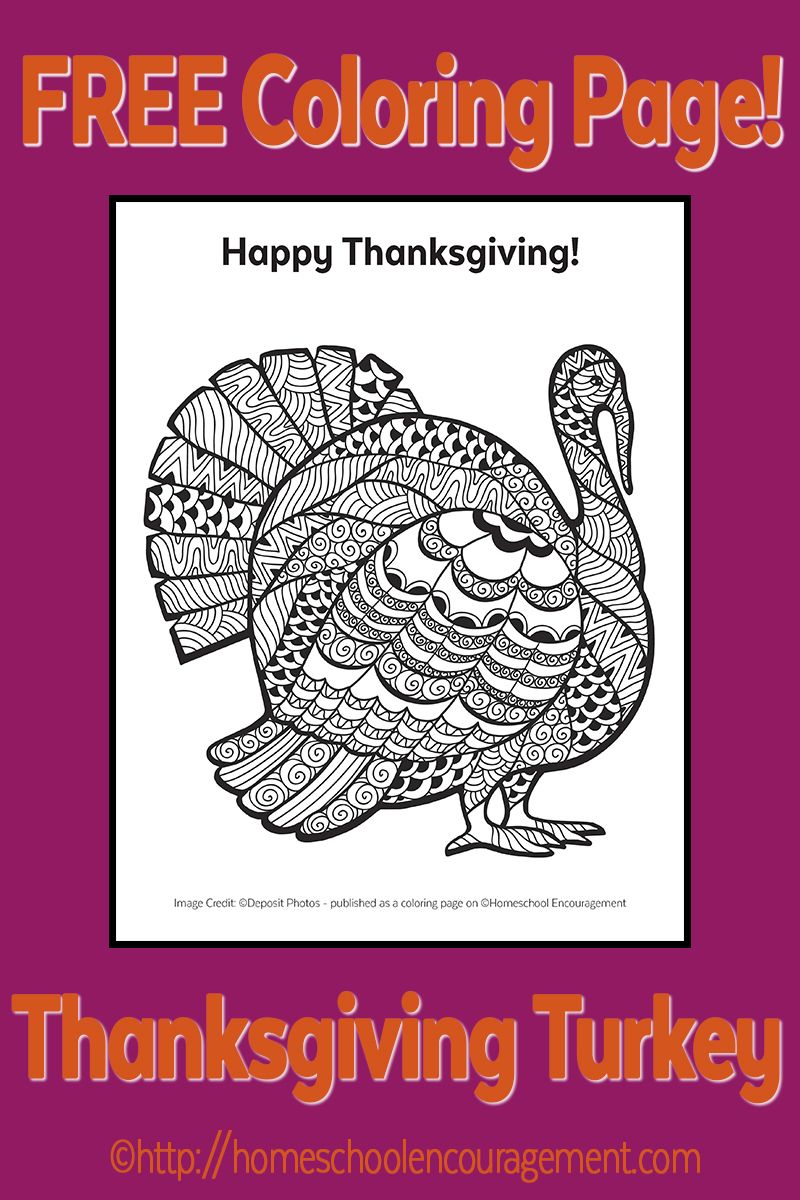 Free Turkey Coloring Page for Thanksgiving | Kind
