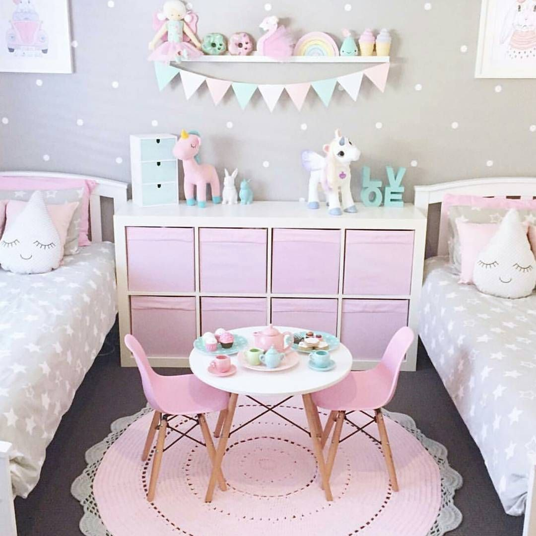 Adorable girl 39 s bedroom ideas pink and gray and neutrals with unicorn touches kids room ideas for Unicorn bedroom theme