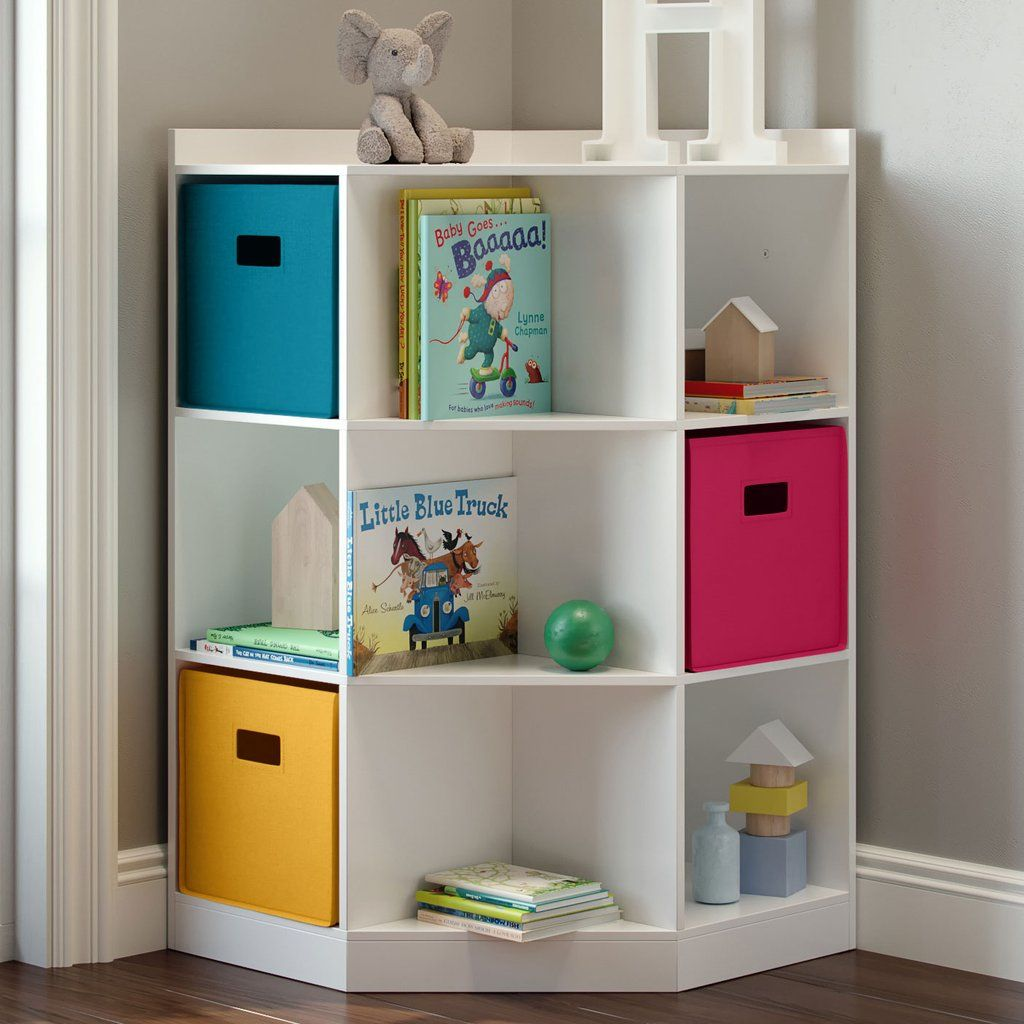 Kids Corner Storage Cabinet With Cubbies Shelves Kids Bedroom Furniture Corner Bookshelves Cubby Storage