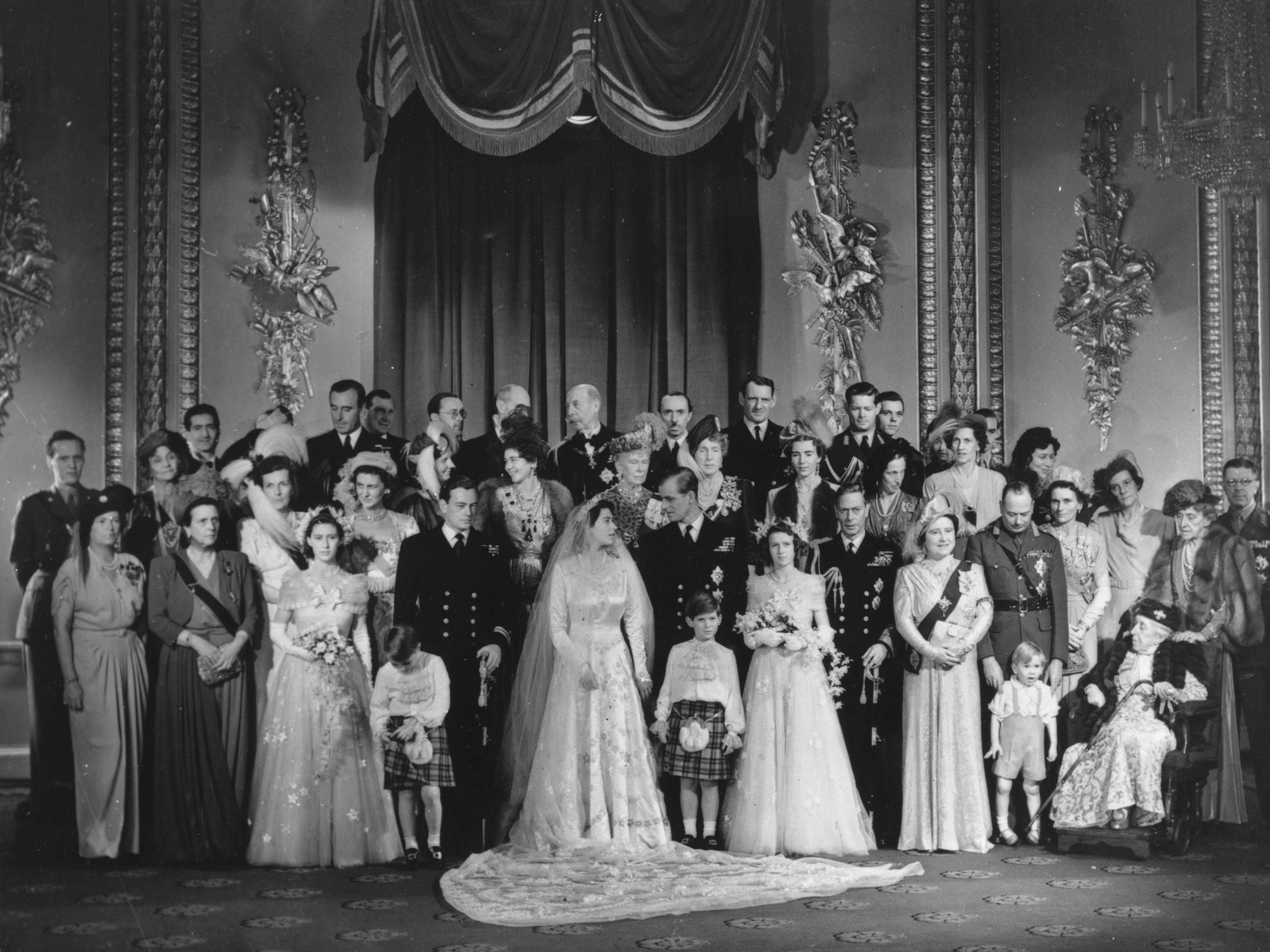 Queen Elizabeth and Prince Philip's 1947 Wedding. Not many people still alive from this photo. I see Prince Michael of Kent in front of Prince Philip, Princess Alexandra in front of King George VI and I think the little boy next to The Queen Mother is Prince Richard of Gloucester.